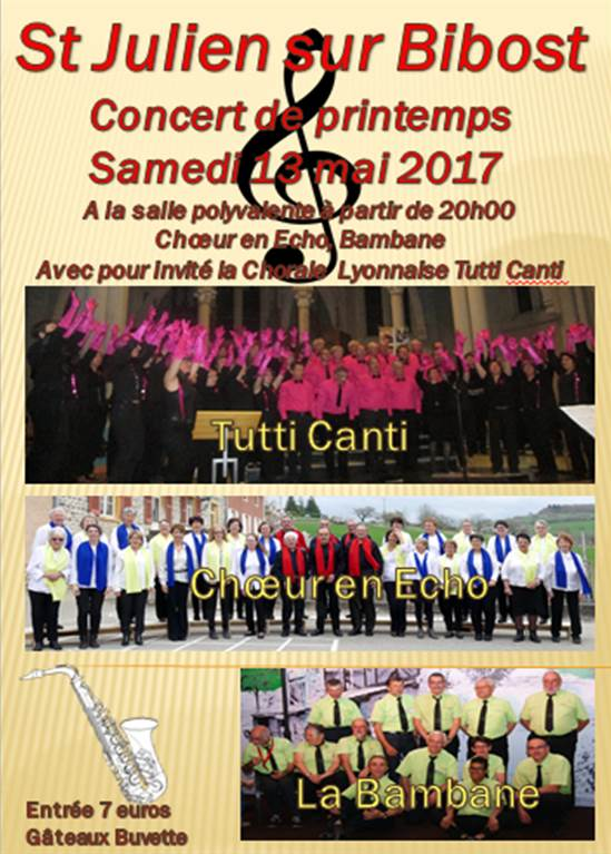 Concert du 13 mai 2017 St Julien sur Bibost